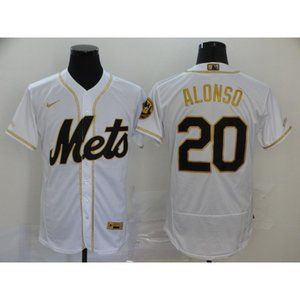 New York Mets Pete Alonso White Gold Jersey